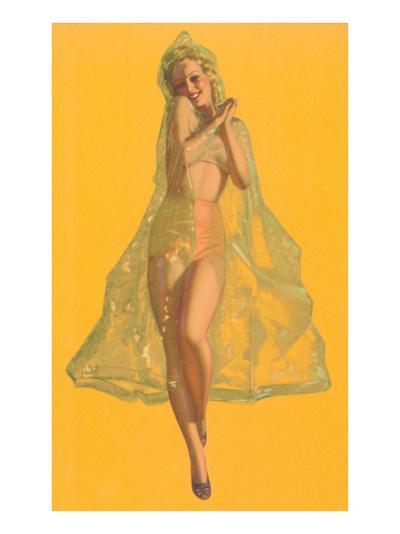Pin-Up in Transparent Raincoat--Art Print