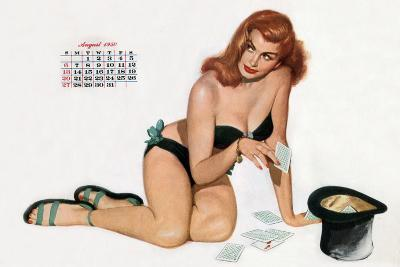 Pin Up Taking Cards in a Top Hat, from Esquire Girl Calendar 1950 (August)--Art Print