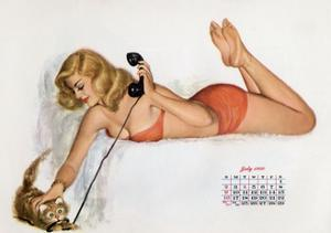 Pin Up with a Cat Playing with Phone Wire, from Esquire Girl Calendar 1950 (July)
