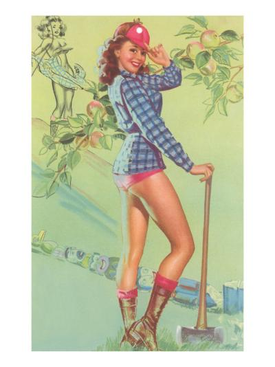 Pin-Up with Lumberjack Axe--Art Print