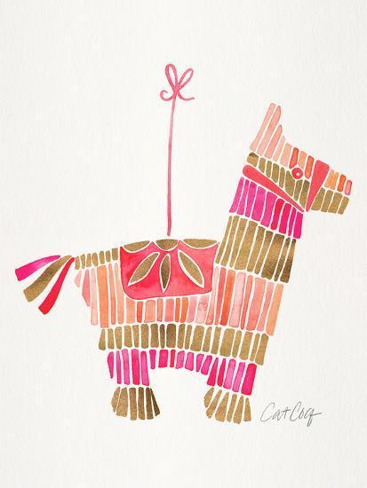 Piñata Pink Rose Gold-Cat Coquillette-Art Print