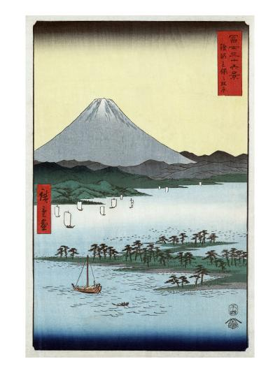 Pine Beach at Miho in Suruga with View of Mount Fuji, Japanese Wood-Cut Print-Lantern Press-Art Print