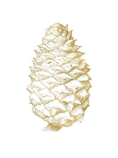 Pine Cone Golden White-Amy Brinkman-Art Print