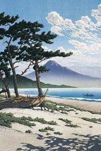 Pine Trees on the Beach with Mt Fuji in the Background, Japan
