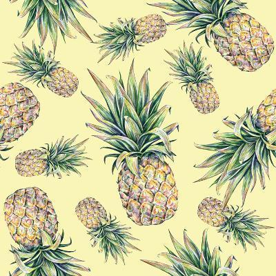 Pineapple on a Yellow Background. Seamless Pattern-MargaritaSh-Art Print