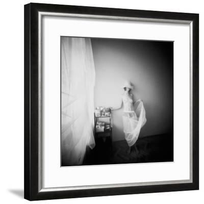 Pinhole Camera Shot of Standing Topless Woman in Hoop Skirt-Rafal Bednarz-Framed Photographic Print