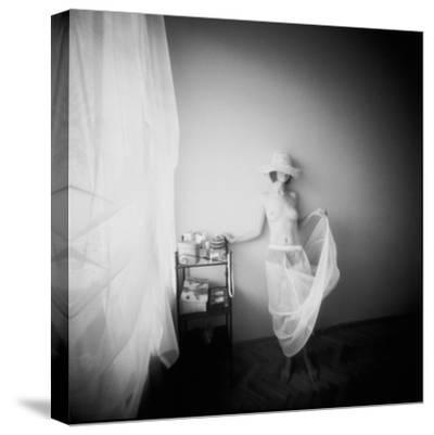Pinhole Camera Shot of Standing Topless Woman in Hoop Skirt-Rafal Bednarz-Stretched Canvas Print