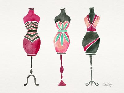 Pink 3 Dresses-Cat Coquillette-Giclee Print