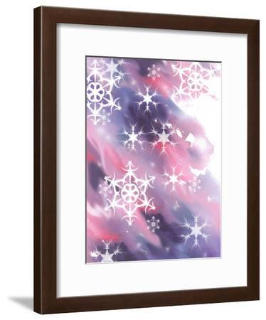 Pink And Purple Snowflakes-Rachel McNaughton-Framed Art Print