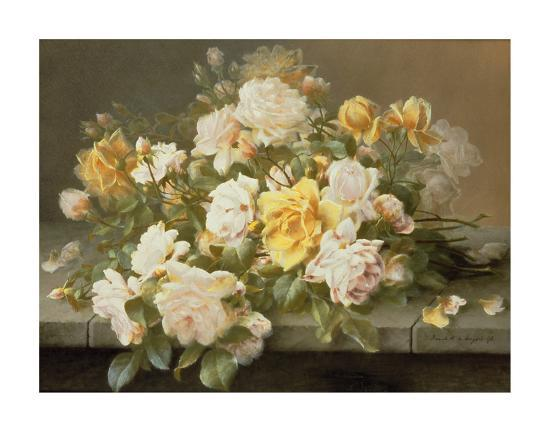 Pink And Yellow Roses-Raoul De Longpre-Premium Giclee Print