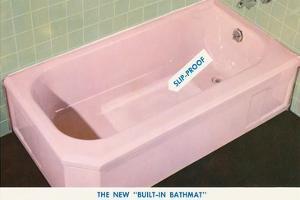 Pink Bathtub with Built in Bathmat