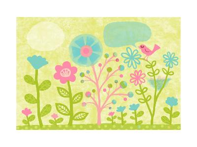 Pink Bird in Garden--Art Print
