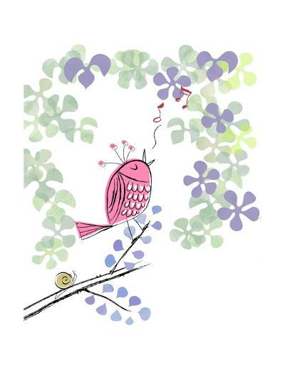 Pink Bird Singing on Flowery Branch--Art Print
