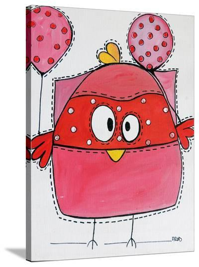 Pink Birdz 1-Annie Rodrigue-Stretched Canvas Print