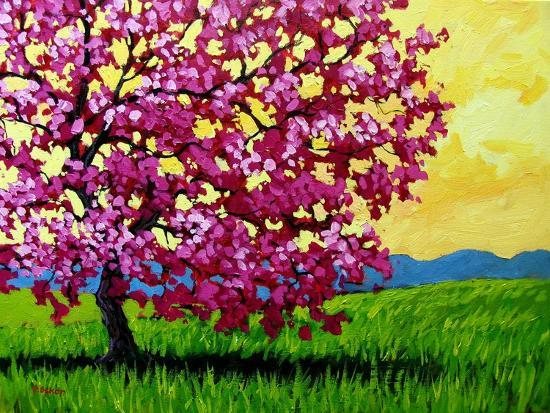 Pink Blossom Tree and Yellow Sky-Patty Baker-Art Print