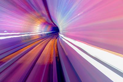 Pink Blue Rail Abstract Underground Railway Pudong Bund Shanghai, China. Black Hole of Shanghai-William Perry-Photographic Print
