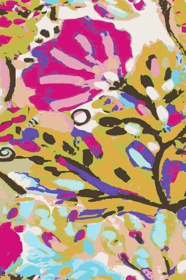 Pink Boho Floral I-Karen  Fields-Art Print