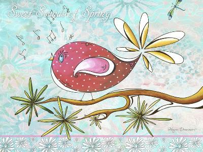 Pink Brown Bird with Notes and Branch-Megan Aroon Duncanson-Giclee Print