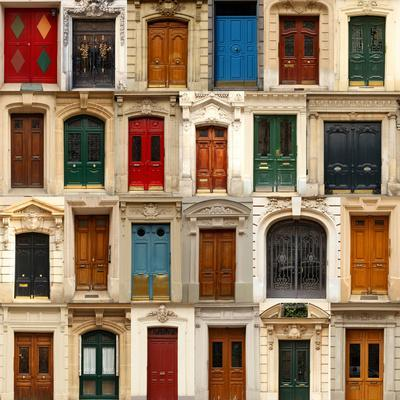 Collage of Old and Colorful Doors from Paris, France.