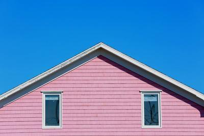 Detail of a Pink Rooftop in Iles De La Madeleine in Canada