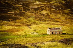 Little Abandoned Stone House in a Middle of a Mountain in the Cairngorms, Scotland, Uk. by pink candy
