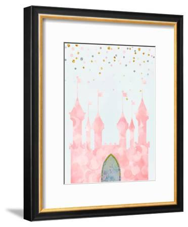 Pink Castle-Peach & Gold-Framed Art Print