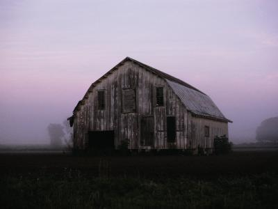 Pink Dawn Mist Around a Weather-Beaten Barn-Stephen St^ John-Photographic Print