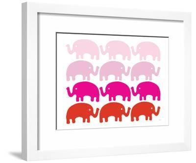 Pink Elephant Family-Avalisa-Framed Art Print