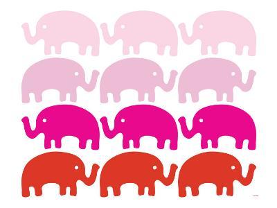 Pink Elephant Family-Avalisa-Art Print