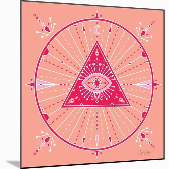Pink Evil Eye Mandala-Cat Coquillette-Mounted Premium Giclee Print
