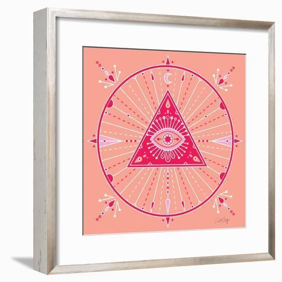 Pink Evil Eye Mandala-Cat Coquillette-Framed Art Print