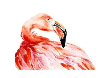 Pink Flamingo Bird Profile Portrait, Amazing Beautiful Animal, Art Print, Watercolor Wildlife Drawi-Antonova Katya-Art Print