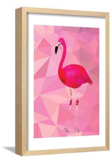 Pink Flamingo Bird Triangle Vector Poster-Moetz-Framed Poster