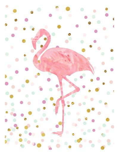 Pink Flamingo on Confetti-Peach & Gold-Art Print