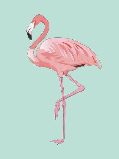Pink Flamingo-Peach & Gold-Art Print