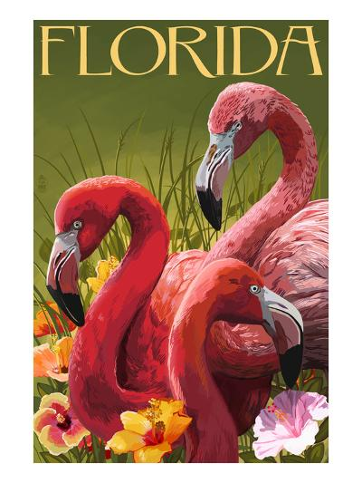 Pink Flamingos - Florida-Lantern Press-Art Print
