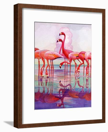 """Pink Flamingos,""January 29, 1938-Francis Lee Jaques-Framed Giclee Print"