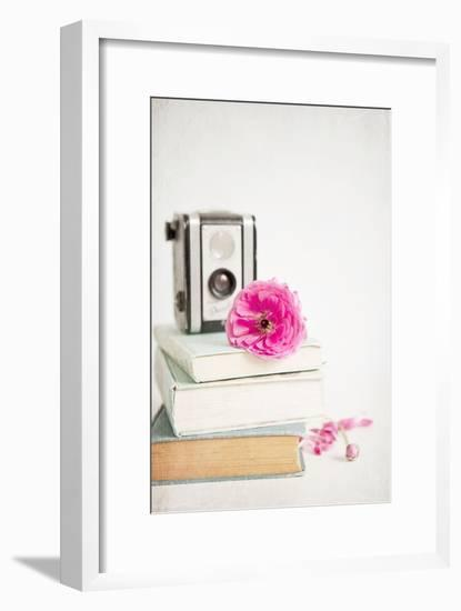 Pink Flower with Books and Camera-Susannah Tucker-Framed Photographic Print