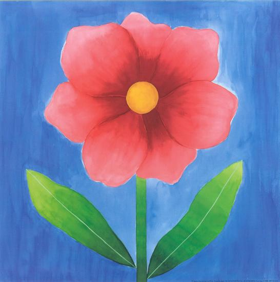 Pink Flower With Leaves-Urpina-Art Print