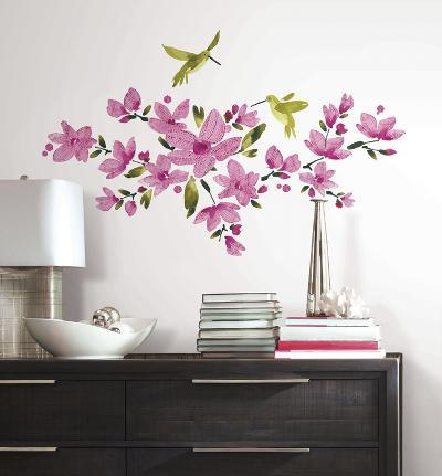 Pink Flowering Vine Peel and Stick Wall Decals--Wall Decal