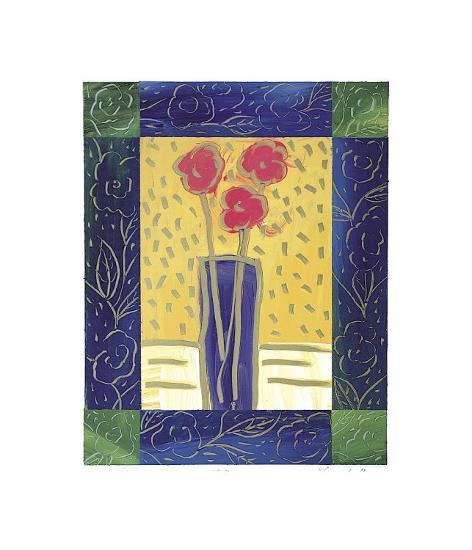 Pink Flowers on Yellow-Hussey-Giclee Print
