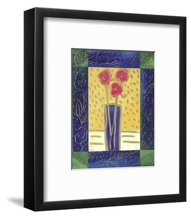 Pink Flowers on Yellow-Hussey-Framed Giclee Print