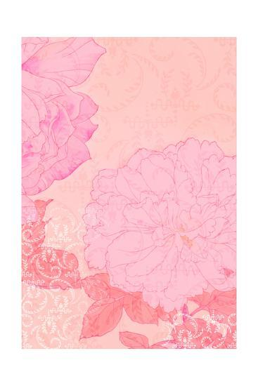 Pink Flowers with Red Leaves on Pink Texture--Art Print
