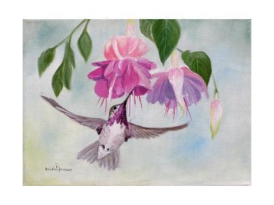 Pink Fuchsias and Hummer-Julie Peterson-Art Print