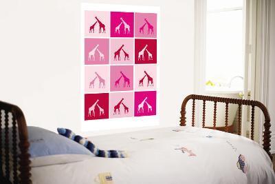 Pink Giraffe Squares-Avalisa-Wall Mural