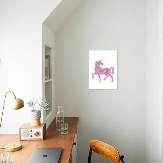 da21191cc00 Pink Glitter Unicorn-Peach   Gold-Art Print displayed on a wall
