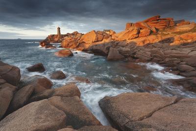 Pink Granite Coast, Brittany, France. the Ploumanach Lighthouse (Men Ruz) an Sunset.-ClickAlps-Photographic Print