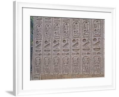 Pink Granite Sculptural Group of the Triad of Ramses II Between Ptah and Sekhmet--Framed Giclee Print