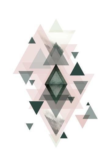 Pink Green Geometric 1-Urban Epiphany-Art Print