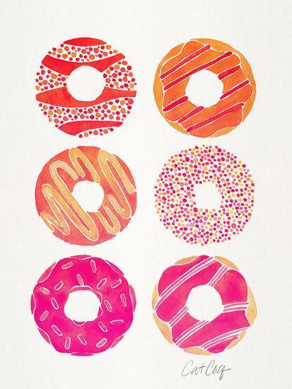 Pink Half Dozen Donuts-Cat Coquillette-Art Print